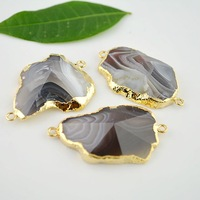 3 Pcs Gold Plated Edge VIEW Agate Stone Connector in Natural color, Gemstone Connectors, Pendant Jewelry Findings