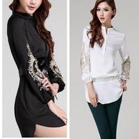 2014 Spring New arrival Women fashion shirt high-end Embroidery long shirt Europe large size Blouse women shirt -W100