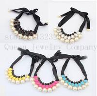 hot Fashion Europe elegant joker ribbon imitation-pearl necklaces & pendants+free shipping