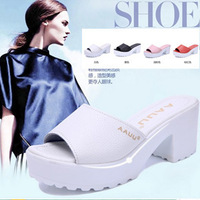 summer platform genuine leather slippers high-heeled slippers drag female sandals open toe sandals female