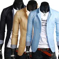 2014 new men's suits high-quality men's Slim stylish casual linen suit  6 color