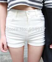 2014 Summer Autumn New Retro Wild Leisure Simple Pure High Waist Thin Cowboy Womens White Jean Shorts Denim Free shipping