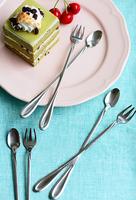 Summer fresh ice scoop dessert spoon stainless steel tableware long ice scoop fork set mixing spoon fruit fork