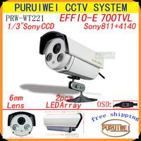 "1/3""Sony EFFIO-E 700TVL 2*LED Arrays OSD Menu outdoor Night/Vision Security Surveillance CCTV Camera with bracket.Free shipping"