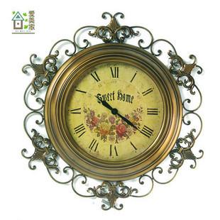 [ Dafen Qi ] living room European-style wrought iron wall clock antique retro wall clock watch clock hanging garden table tuba(China (Mainland))