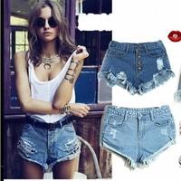 New 2014 women shorts summer Women european style Worn Frayed edges denim shorts jeans short pants jeans shorts feminino saias