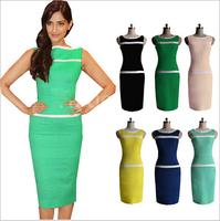 2014 New Fashion Women Summer Casual Dresses Sheath Mid-Calf Sleeveless Slash Neck Women Dresses Size S-XXL