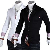 Size M-XXL Fashion Men's Turn-down Collar Cotton Slim Long Sleeve Single Breasted Ribbon Casual Shirts Free Shipping LJM019