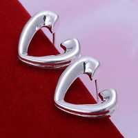Free Shipping!!Wholesale 925 Silver Earring Fashion Sterling Silver Jewelry,Half Heart Earrings SMTE065