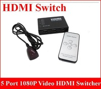 10pcs/lot Factory sale 5 Port 1080P Video HDMI Switch Support 3D functionality Switcher Splitter for HDTV PS3 DVD with IR Remote