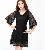 Free Shipping! 2014 Summer New Fat MM Korean Loose Thin Hollow Out Three-dimensional Plus Size Lace Dress XL-XXL-XXXL-XXXXL