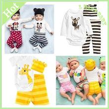 2014 algodón niños mickey y minnie bebé niños niñas establece ropa 3pcs( largo- manga romper+hat+pants) setahy005 niños ropa(China (Mainland))
