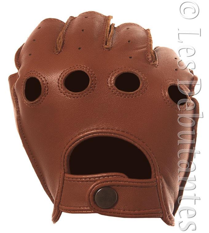 Fingerless Leather Gloves Men Men's Brown Leather Fingerless