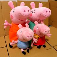 Free shipping 19-38cm Peppa Pig Family Plush Toys Dolls,Anime Animal Pink George Pig Peppa Pig Brinquedos Toy,High Quality 1006