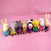 Free shipping 19cm kawaii Peppa Pig friends 8pcs/lot High Quality Plush Soft Doll Stuffed Animals baby toys for kids grils gift
