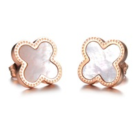 Lucky Clover Design Rose Gold Plated Stainless Steel Stud Earrings Inlaid With Natural Sea Shell Fashion