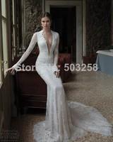 FCD83 2014 Berta Sexy Long Sleeve Wedding Dresses Dark V Neck Appliques Backless Mermaid Wedding Bridal Beauty High Quality