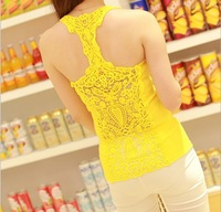 women tank tops Back all hollow out hook flower bud silk beauty back vest women tank tops more colours to choose