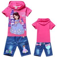 Free shipping new children set girl clothing suit ,cartoon sofia princess t-shirts + jeans shorts pants baby girls fashion sets