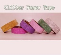 free shipping China post Mixed Color glitter paper tape adhesive tape washi glitter tape 15mm*5m 20 rolls/lot