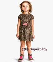 Fashion summer baby girl's leopard print short-sleeved dress/New arrived summer girl dress