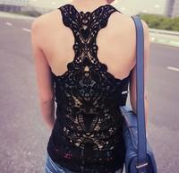 women tank tops Back all hollow out hook flower bud silk beauty back vest women tank tops more colours to choose