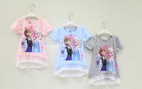 2014 New Frozen Girl Flower lace short-sleeved Princess Elsa kids Casual T-shirt Girl Summer bottoming shirt long T-shirt Child