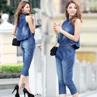 New summer 2014 women leisure thin denim jumpsuit 7 minutes of pants women's casual jumpsuit 4 sizes