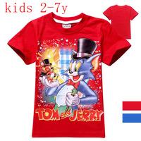 Kids summer Tee Shirt Cotton retail 2-7Yrs Children boys T Shirt short sleeve cartoon Tom and Jerry T-shirt 8053 free shipping