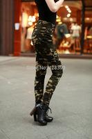 Free shipping 2014 summer new women's fashion Slim camouflage waist pants Cargo Pants