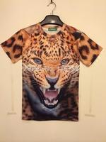 Free shipping 2014 Fashion 3D short-sleeve T-shirt erotic Amative novelty Leopard print round neck casual street hip-hop shirt