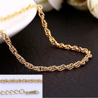 Top Quality Promotion 3 Colors 18k Gold Plated Chain Link Necklace Woman Man For charm Pendant Rose Yellow White Gold Rope