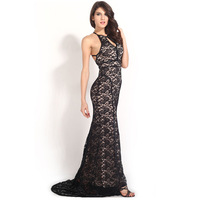 Black Lace Nude Illusion Open Back Evening Gown vintage horn mopping Peplum Maxi Dress