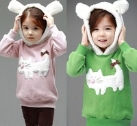 Free Shipping Hot  Kids boys girls hoodies cartoon cat T shirts Sweatshirts kids hello kitty hoodies outerwear clothing retail