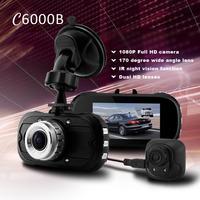 New 2014 C6000B Dual Lens DVR With Rear Camera Main 1080P Full HD + 170 Degree Lens + IR light Night Vision + Motion Detection