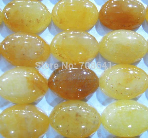 13x18mm New Oval Dome Yellow Jade Cabochons Stone Jewelry beads Wholesale(China (Mainland))