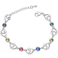 2014 New Korean Fashion Jewelry Crystal Heart-shaped Bracelet Multicolor Sterling Silver Bracelets for Women ML-624