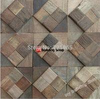 Natural wood wall tiles backsplash NWMT092 wooden mosaic 3D mosaic TV background tile wood parquet mosaics