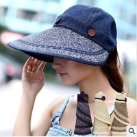 Dual-rollable / summer sun hat / empty sun hat cap free shipping