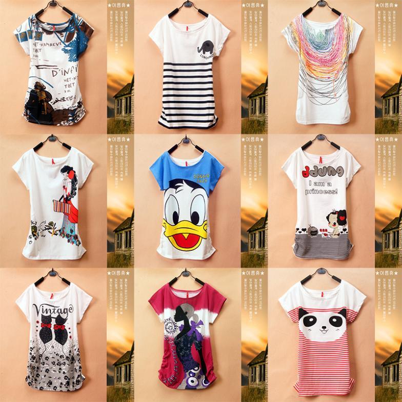 New top sale Mickey Women TShirts Short Sleeve Lady Print Duck T-Shirts Female Cartoon character Tops Tee girls T shirts(China (Mainland))