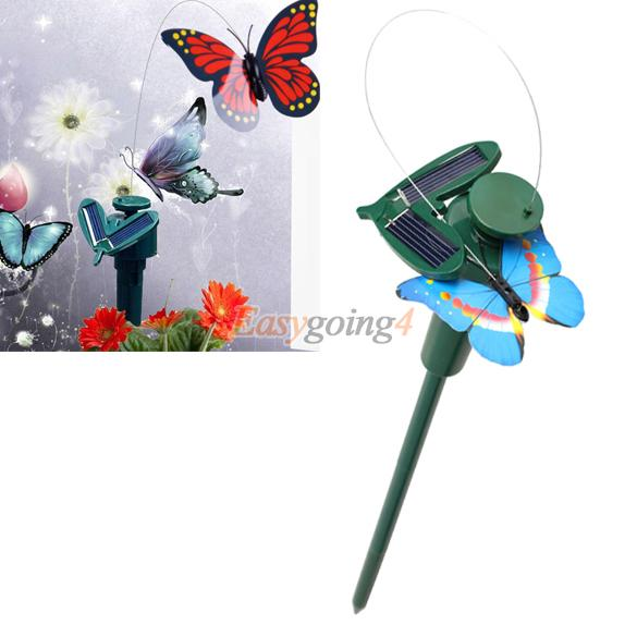 EA14 Solar Powered Dancing Flying Butterfly Garden Decoration Color At Random(China (Mainland))