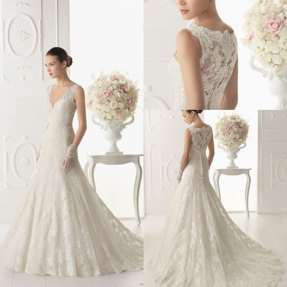 Popular low cut wedding dresses aliexpress for Low cut back wedding dress