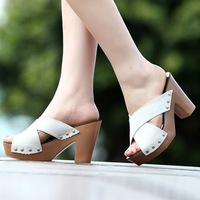 2014 open toe platform thick heel platform clogs slippers sandals female cross-strap high-heeled