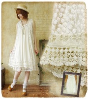 2014 Summer women's embroidery lotus leaf lace patchwork laciness sleeveless one-piece dress mori girl