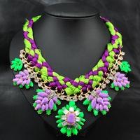 New 2014  Wholesale Fashion Jewelry Women Costume Vintage Zinc Alloy Green Purple Acrylic Rope statement Choker Pendant necklace