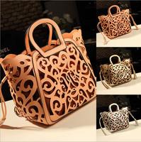 New 2014 Hot Sale tassel cut out women handbag hollow out vintage big purse shoulder bags totes