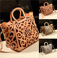 New 2014 Hot Sale tassel cut out women handbag hollow out vintage big purse shoulder bags totes