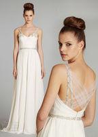 2014 High Quality White ivory Wedding Dresses V Neck Sexy Fashion Simple Bridal Gown Custom Size 6 8 10 12 14 16+++