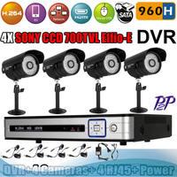 Home cctv system 4CH 960H H.264 CCTV DVR SONY CCD Effio-E 700 TVL Video Surveillance Security System kit 4 Outdoor Camera