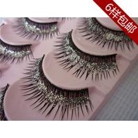 Omelaiya Thick cross natural bare makeup false eyelashes silver sequins glitter silver 5-pair 817 # free shipping handmade